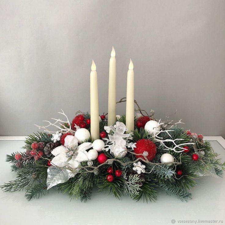 Купить Новогодняя композиция - новогодние игрушки, настольная игра, свеча, декор стола, искусственная хвоя