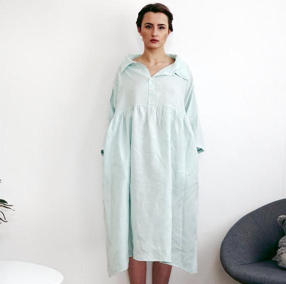 Roomy Feminine Dress Maxi Summer Dress Collared Linen Dress Long Shirt Dress Flax Clothing Linen Shirt Dress Oversized Dress