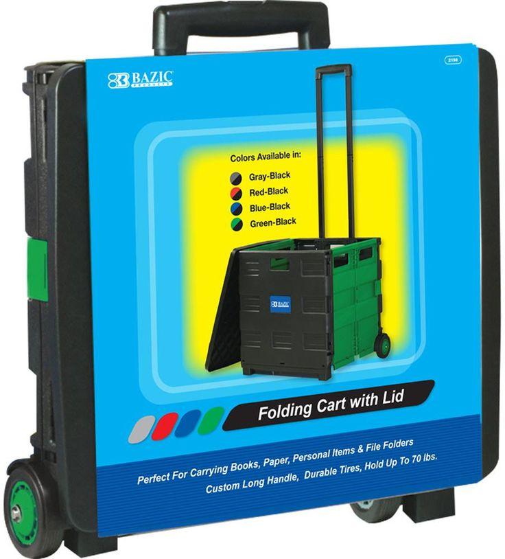 "BAZIC 16""X18""X15"" Green Folding Cart on Wheels w/Lid Cover - 3 Units"