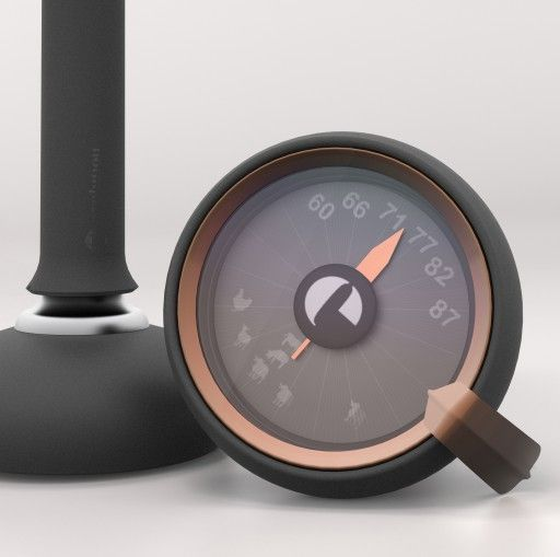 HOT STUFF Cooking Thermometer | Design Alain Gilles for EVOLUTION  - themometer cooking thermometre cuisson fonctional fonctionnalité smart modern kitchen tool ustensil de cuisine modern design contemporary French Français art de vivre graphic graphique Mauviel silicone four oven