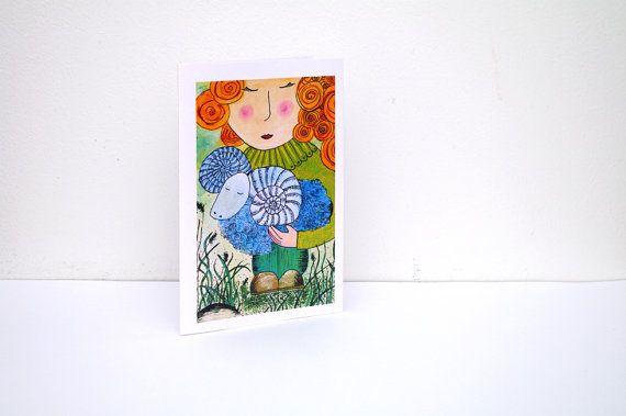 Aries painting card - Zodiac card - Sheep card - Girl Birthday greeting card - Animal art CARD - Baby Girl Card - Happy birthday card for little girl