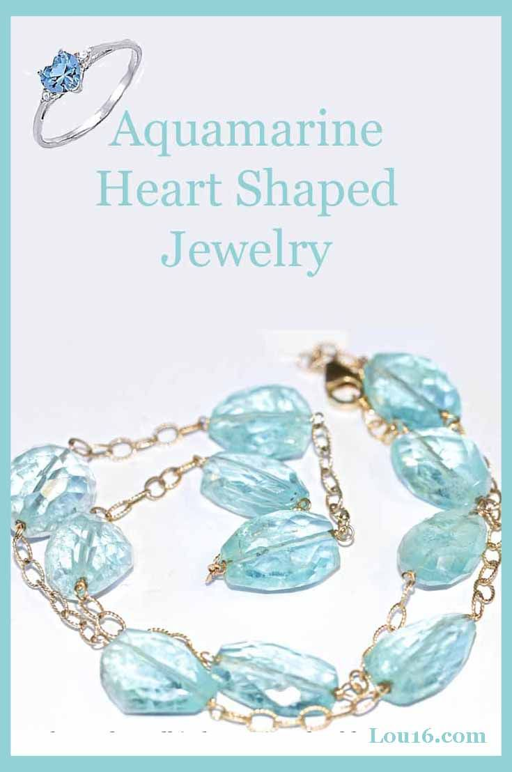 aquamarine heart shaped jewelry birthstone for March