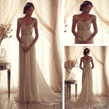 Vintage Scoop Cap Sleeve Wedding Dresses with illusion vestidos de noivas 2014 Open Back Bridal Gowns with Train