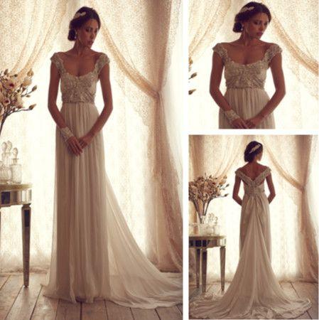 Vintage Scoop Cap Sleeve Wedding Dresses with illusion vestidos de noivas 2014 Open Back Bridal Gowns with Train