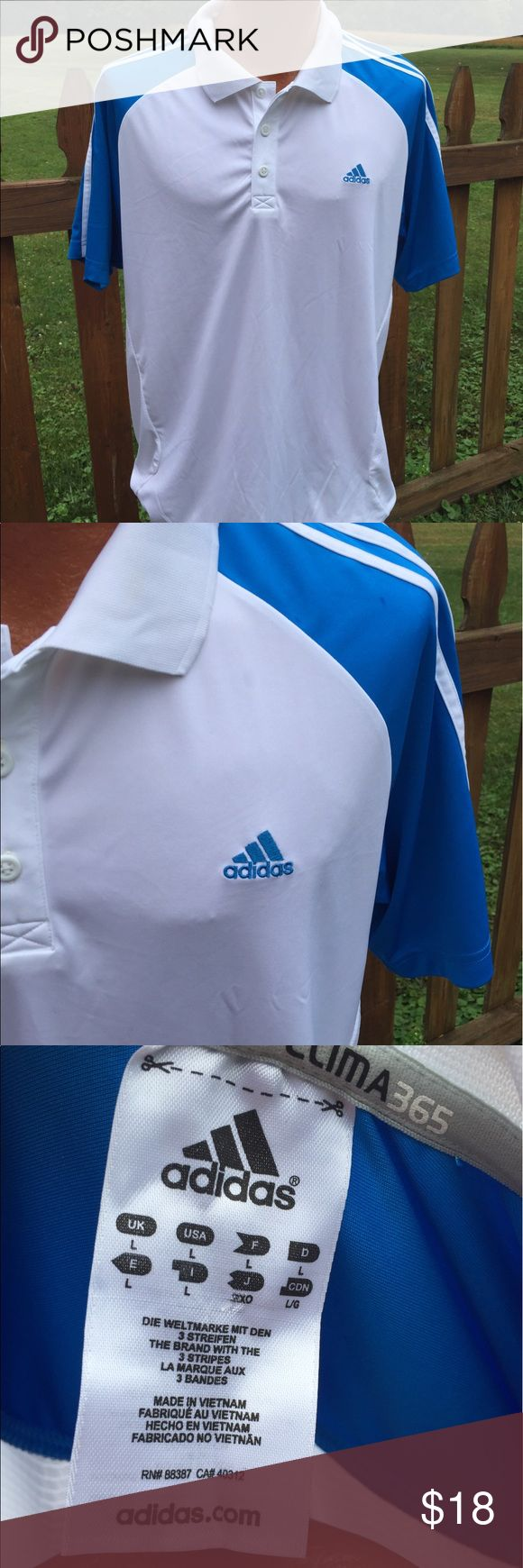 Adidas Mens Clima Lite Golf Polo Shirt Size Large Size large. Super gently preowned. Be sure to view the other items in our closet. We offer  women's, Mens and kids items in a variety of sizes. Bundle and save!! We love reasonable offers!! Thank you for viewing our item!! adidas Shirts Polos