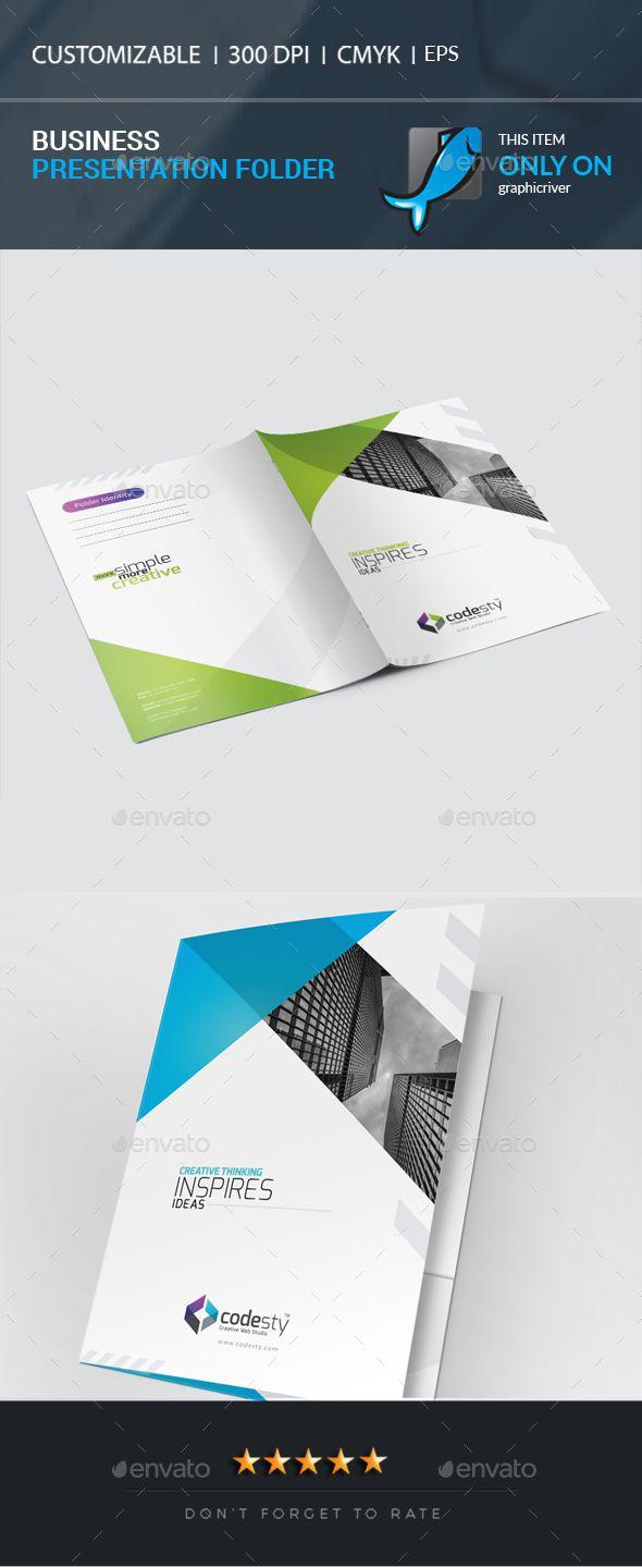 Business Presentation Folder Black Blue Both Side Design Card Creative Designer Flyer Graphic Green Landscape Logo Magazine
