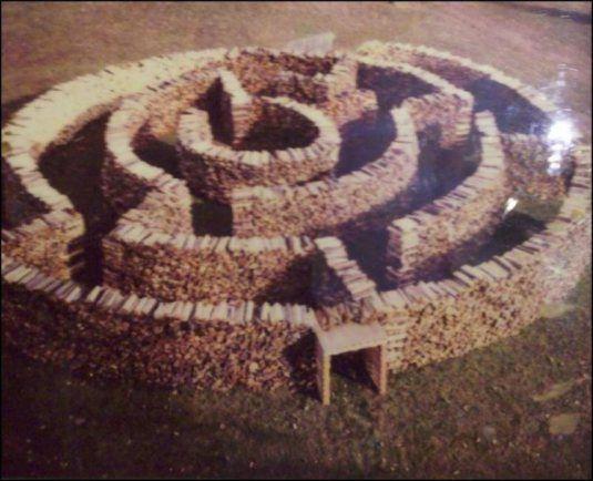 Creative ways to stack firewood - make a maze!