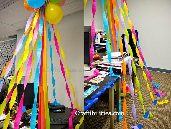 EASY Birthday DECORATING at the OFFICE - cubical / desk idea - SURPRISE your Co-Worker / Boss -  streamers, balloons, cake