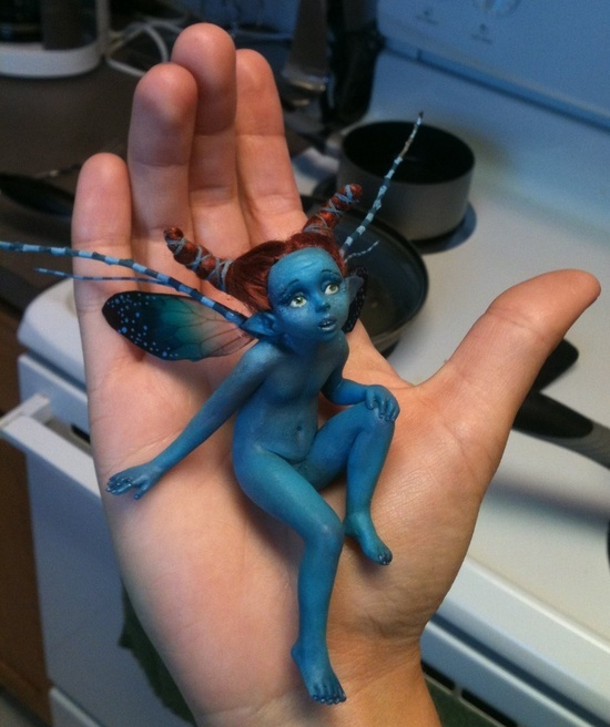 Polymer Clay Fairies | POLYMER CLAY ART DOLLS 2 / Little Blue Fairy by FooFootheSnoo ...