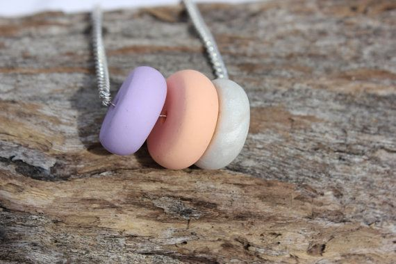 Peach, Purple & Pearl Necklace - poylmer clay beaded necklace