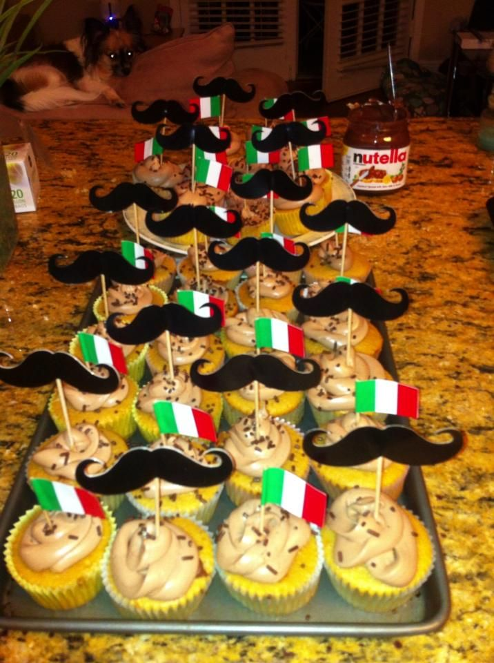 Nutella cupcakes, Italian themed party, birthday party, dinner party