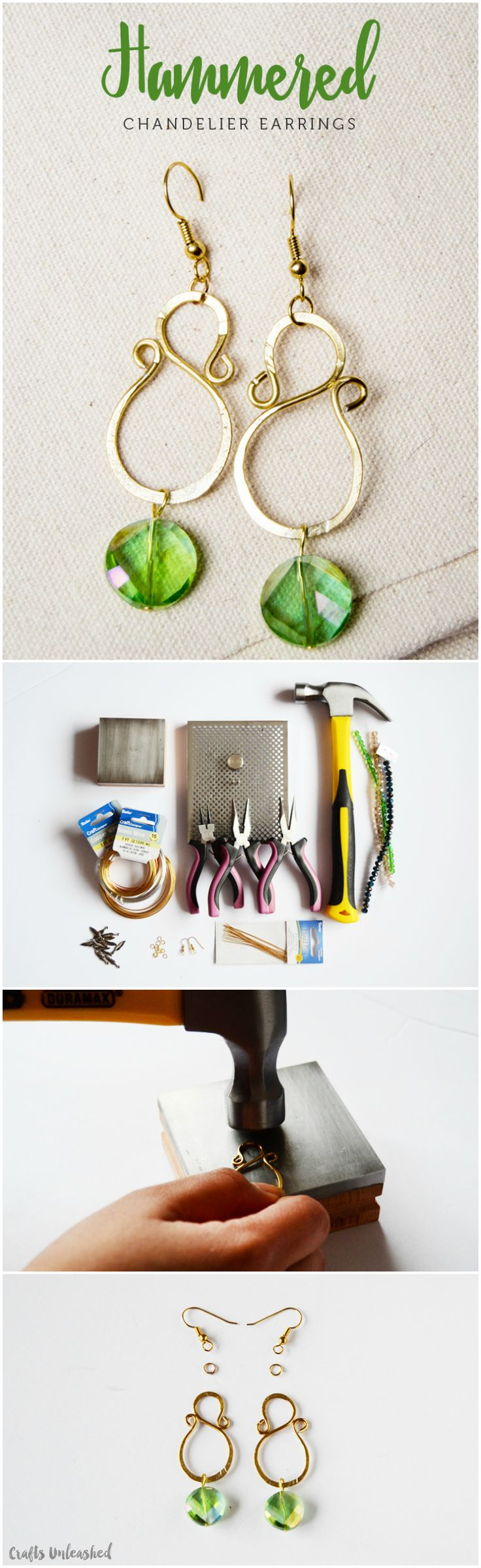 Diy Chandelier Earrings With Hammered Texture