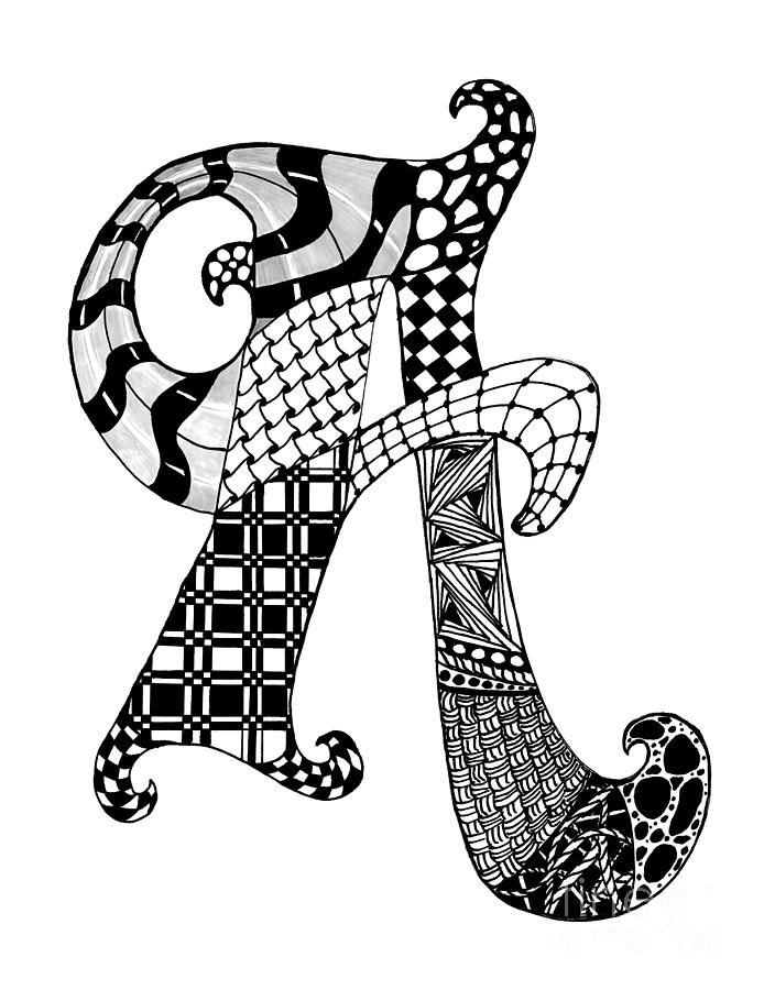 Zentangle Letter A Monogram In Black And White Drawing