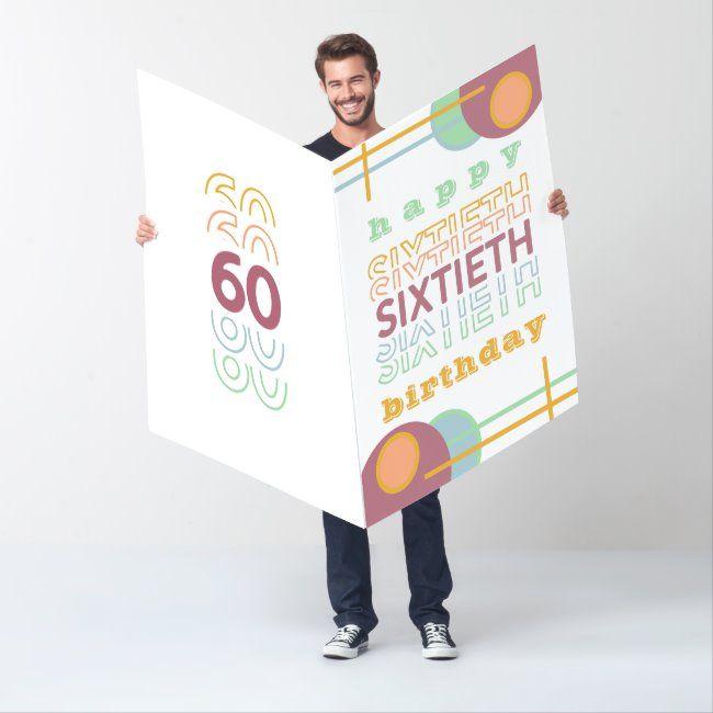 60th Birthday Happy Sixtieth Typography Jumbo Card Zazzle Com 30th Birthday Cards 40th Birthday Cards 50th Birthday Cards