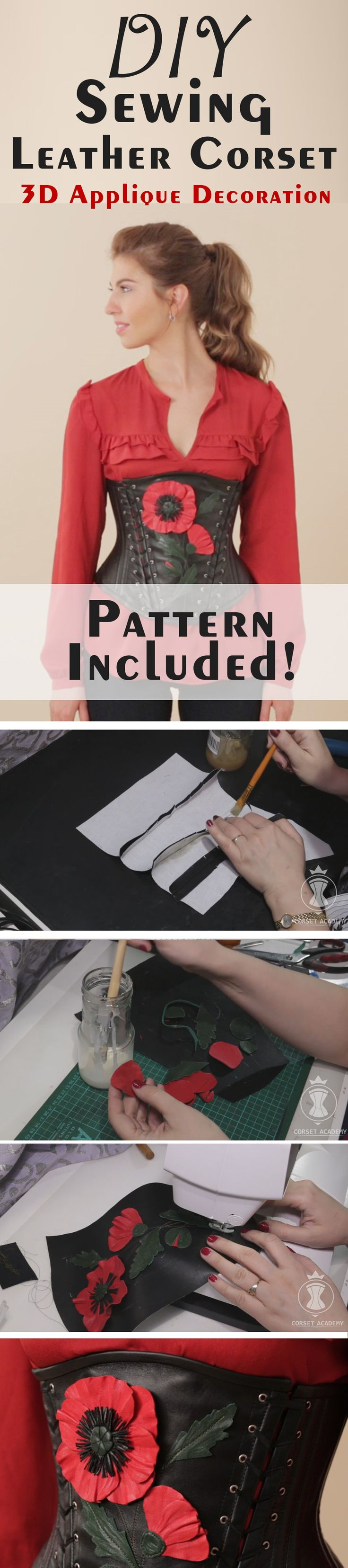 Sewing leather corset. 3D Applique decoration. Sewing pattern included. Corset making tutorials by Corset Academy. DIY underbust corset
