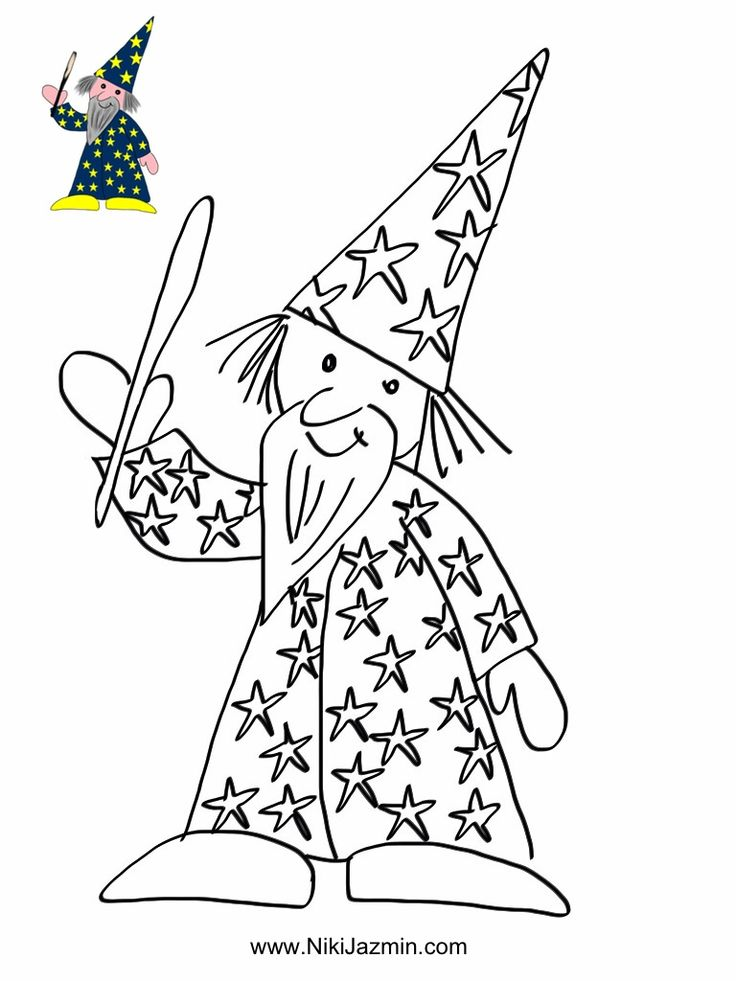 A wizard - colouring page