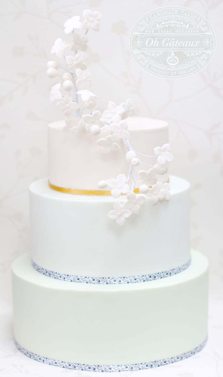 Three tier ombre cake with delicate stylised flowers to match a bridal headdress. Design by Oh Gateaux.