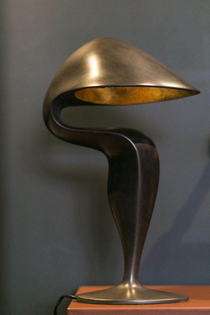 Black Swan Table Lamp by Michel Amar  #sculptural #tablelamp #elegant #bronze #lighting #castbronze #goldleaf #lesatelierscourbet #michelamar