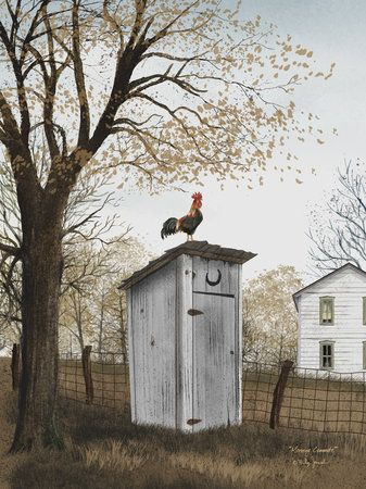 Morning Commute by Billy Jacob Country Americana Outhouse Art Print- 8x10