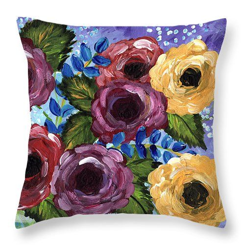 Impressionist Flowers Throw Pillow featuring the mixed media Just Because by Clover Moon Designs Peggy Sowers-Heckman