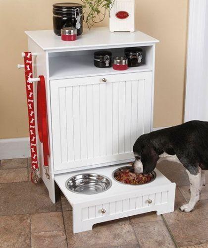 Black Wooden Dog Cat Pet Food Cabinet Organizer Feeding Food Station with Bowls