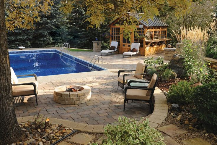 paver patio designs pool traditional with concrete firepit teak outdoor dining tables