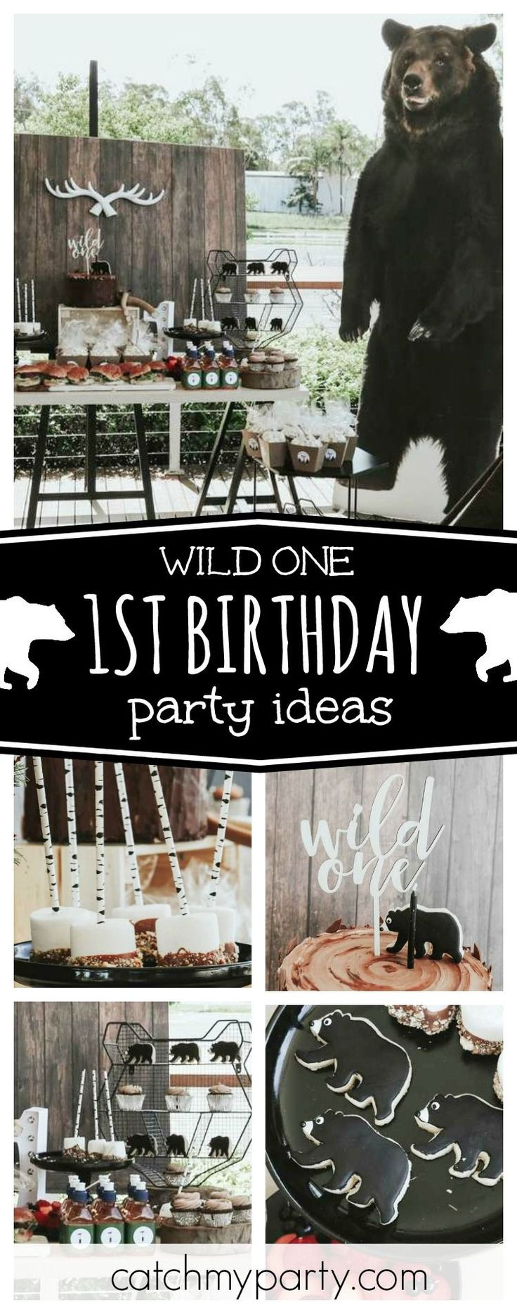first birthday invitation template india%0A Check out this awesome Wild One  st birthday party  The bear cookies are so  cool