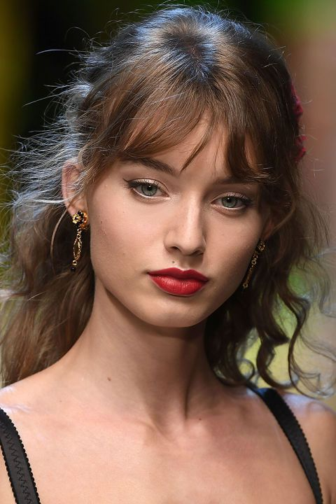 Classic creamy red lipstick is a staple on the Dolce & Gabbana runways.