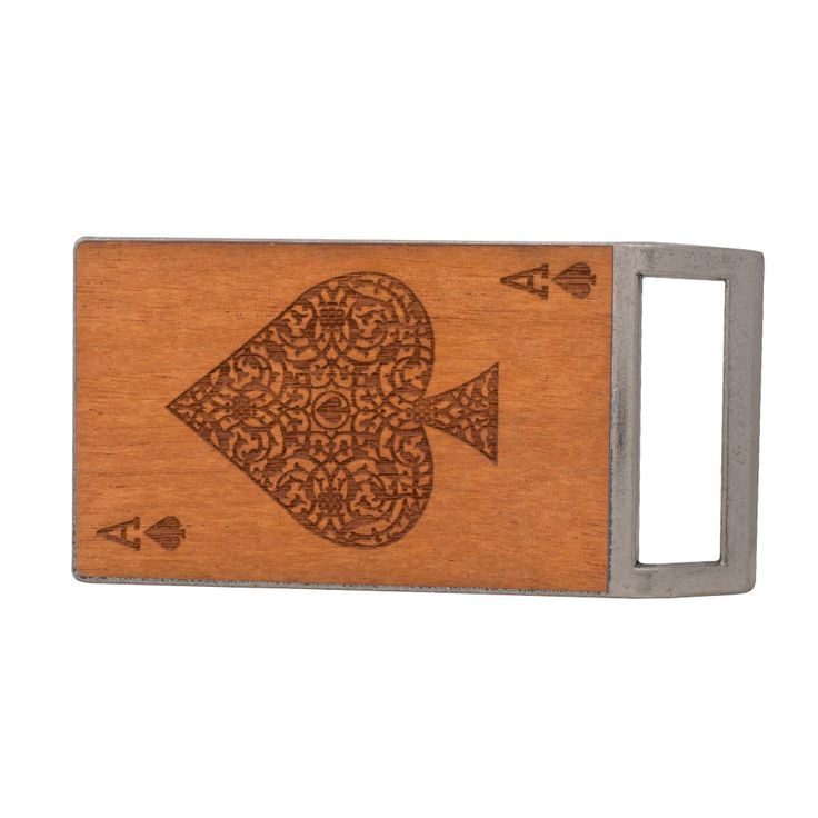 Mens Lucky Ace of Spades Game Etched Real Wood Belt Buckle