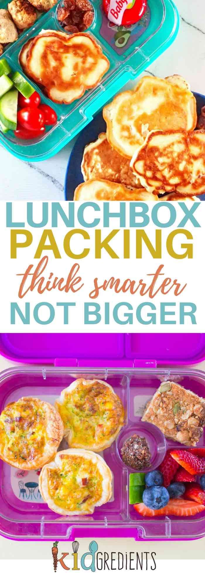 Lunchbox packing: think smarter not bigger. You might find that changing what you pack has a big effect on how much food you need to send! #kidsfood #lunchboxpacking
