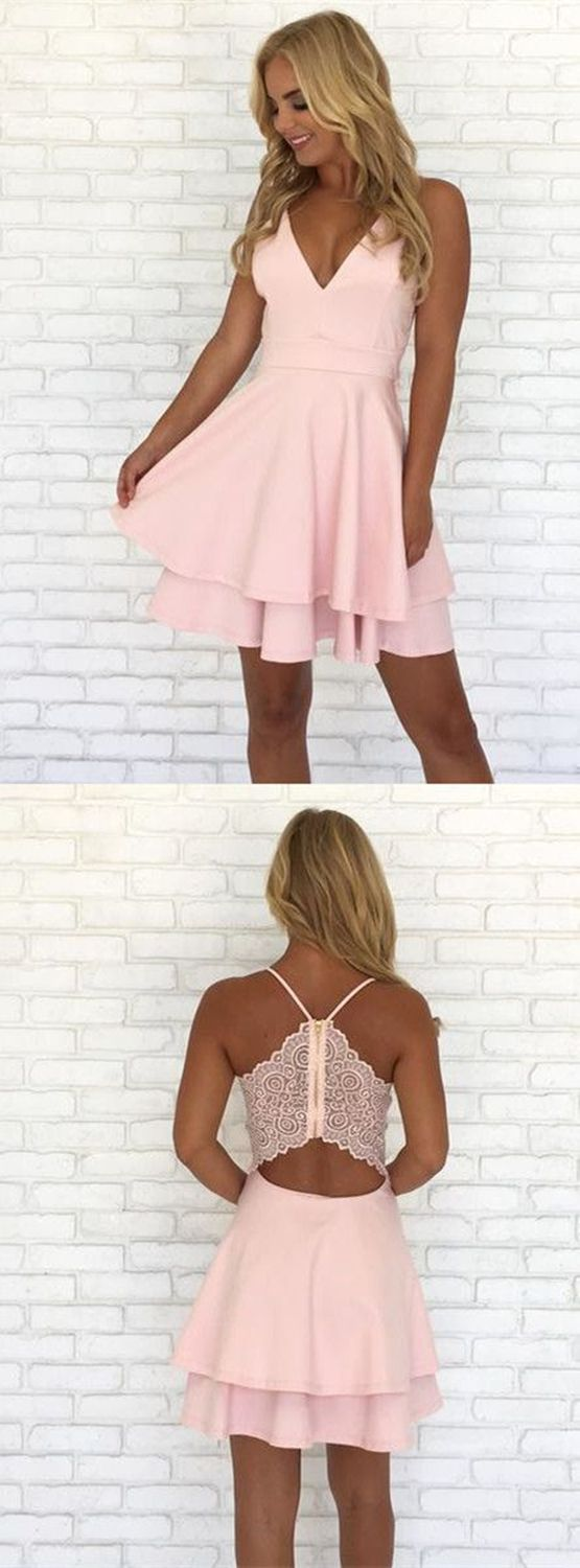 pink short homecoming dresses,tiered stain prom dress,special back lace dresses for homecoming