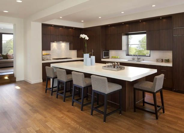 Waterfall island on one side so there is seating on other for Kitchen island with cabinets and seating