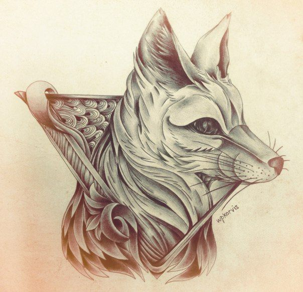 17 best images about cool drawings on pinterest wolves for Cool fox drawings