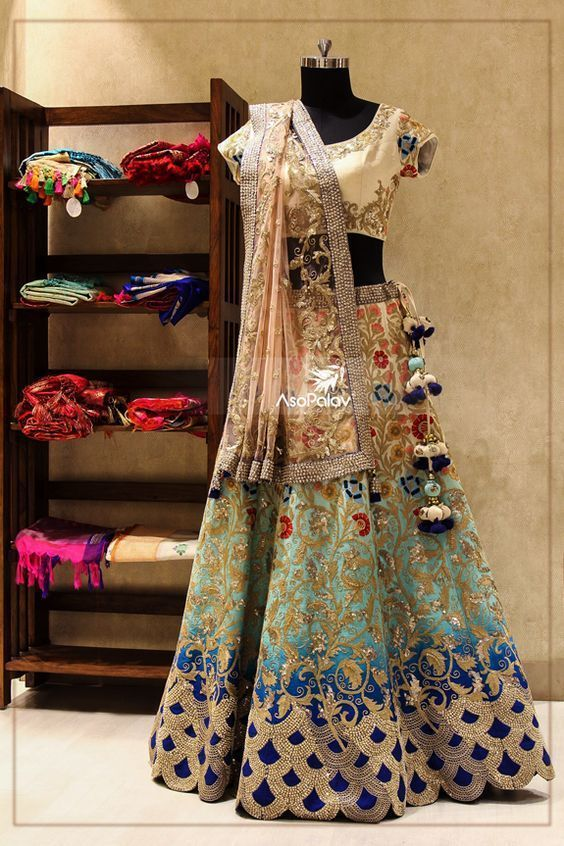 Lehenga for Bride: Beautiful multiple colour lehenga is perfect for the bride, it will suit any bride.