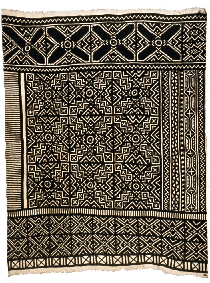 Africa | Bògòlanfini wrapper by Nakunte Diarra (Bamana) | 1990, Mali || Handwoven cotton textile with mud dye designs; this design refers to marriage and the moving of a bride to her husband's village.