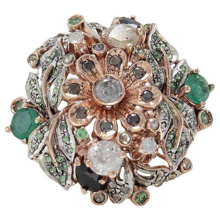 Luise Black & White Diamond Emerald Ring | 1stdibs.com
