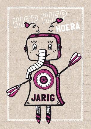Robot meisje - verjaardagskaart (revista-ontwerp.nl)