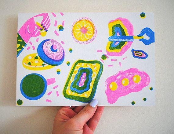 3 colour risopraph print on 200gsm cyclus offset paper  25x17 cm
