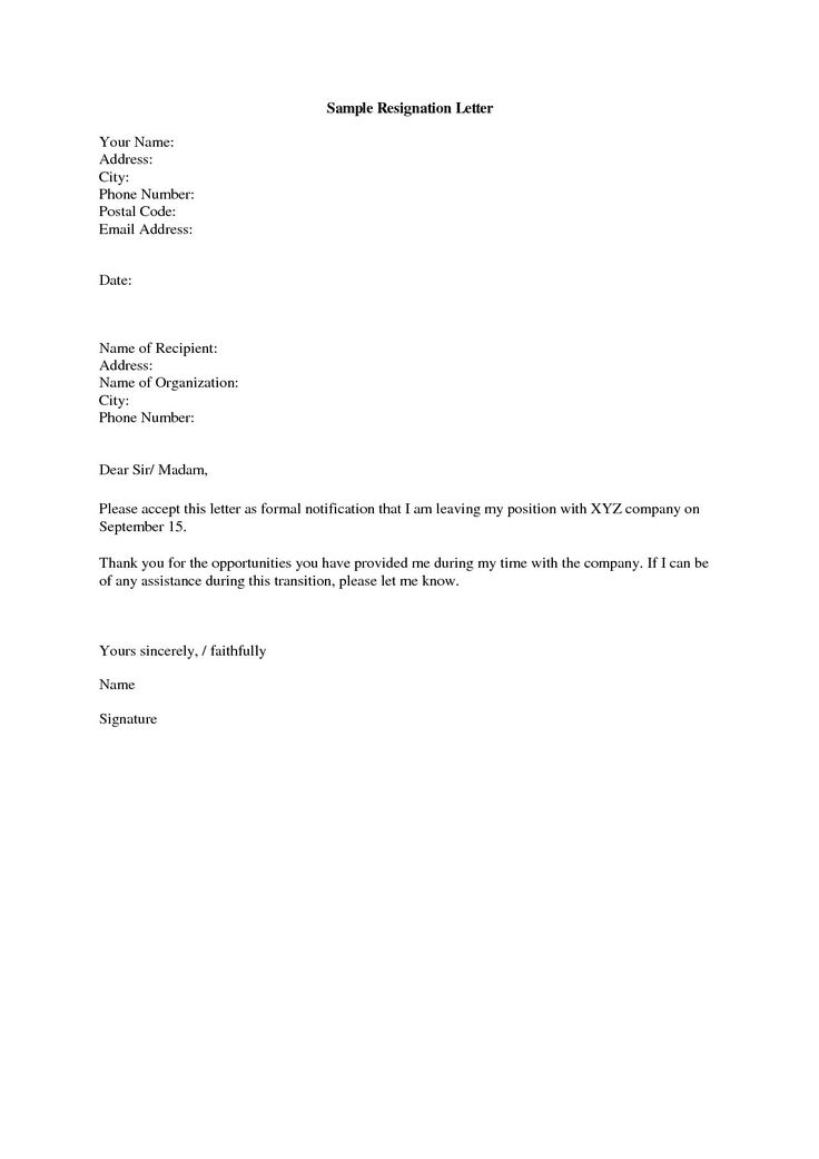 Resignation Letter Sample. Sample Resignation Letter Month Notice ...