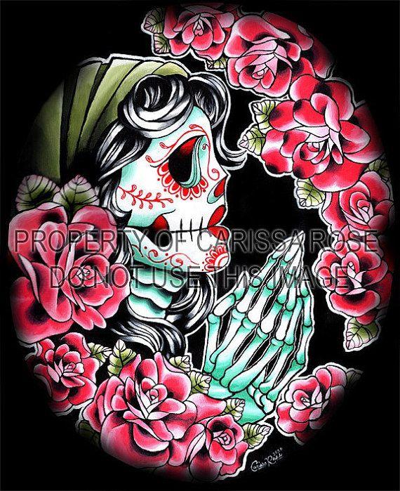 Dia de los Muertos praying Art Print by Carissa Rose 5x7, 8x10, or 11x14 on Etsy, $5.00