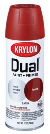 Krylon K08834000 Dual Paint & Primer Spray, Brick, Satin, 12 Oz.