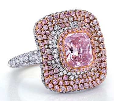 Cushion Cut Pink Diamond Ring