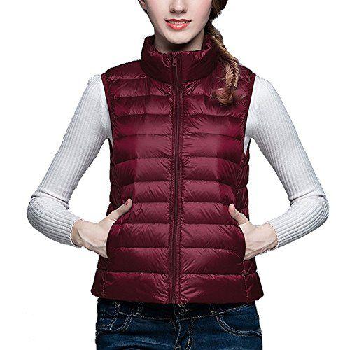 Bestfort Ultraleicht Daunenweste Damen Stehkragen Weste f�r Winter Outdoor Einfarbig