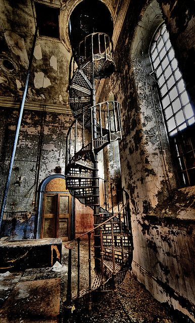 Staircase inside an abandoned water tower. Sleaford Bass Maltings, Lincolnshire.