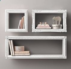 Attach wooden frame pieces to all sides of a Crate opening, paint and hang on wall. Creative shelves. Shelves that look like picture frames