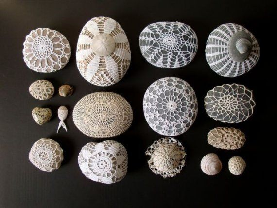 delicate but strong 1 by knitalatte on Etsy, $12.00Lace, Shells, Crafts Ideas, Crochet Covers, Doilies, Nature, Crochet Stones, Sea Urchins, Crochet Rocks