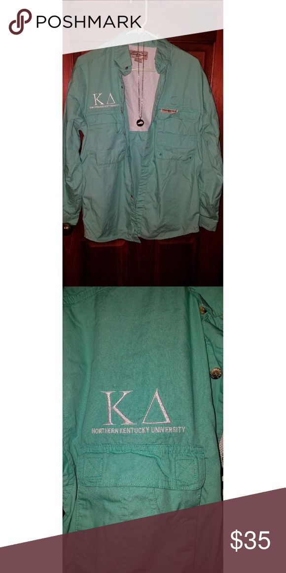 """KAPPA DELTA FISHING JACKET **NEVER WORN** Northern Kentucky Eta Eta chapter of Kappa Delta made these fishing jackets! I purchased one but never wore. Is mint green and embroidered with """"Kappa Delta"""" and """"Northern Kentucky University"""" Hook & Tackle Other"""