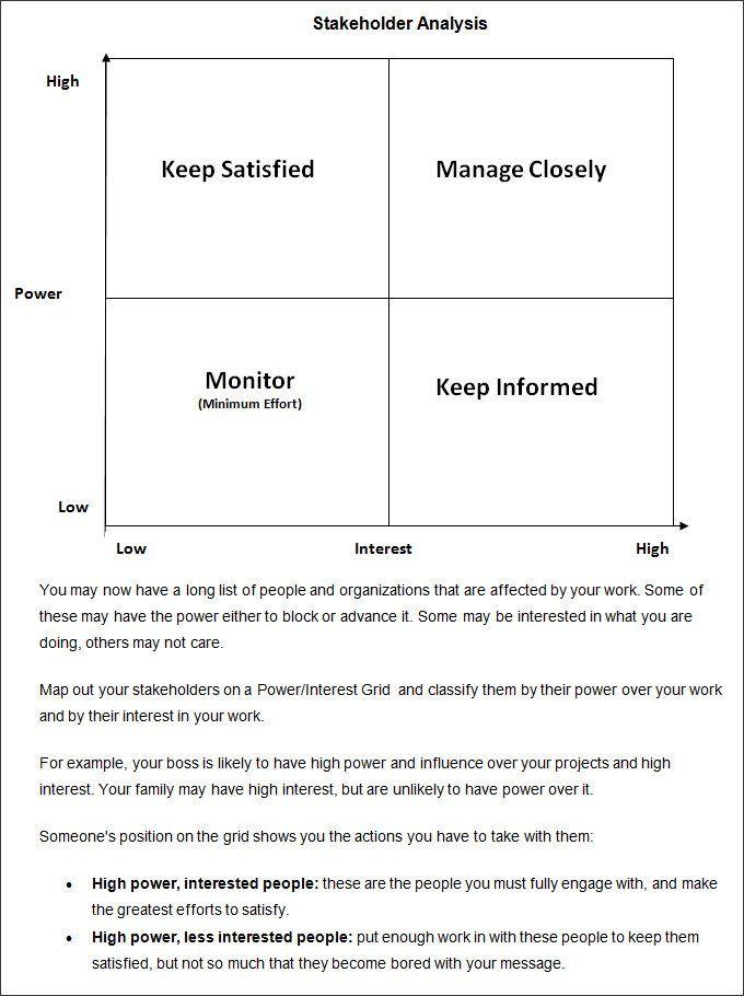 Stakeholder Analysis Templates 8+ Free Printable Excel, Word  PDF