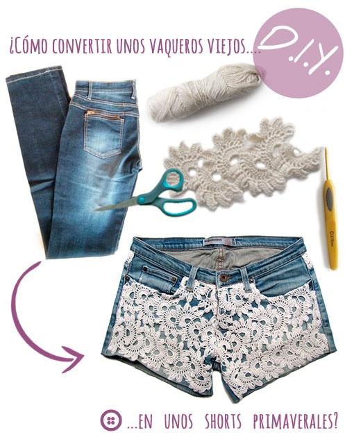 ¿Como convertir un viejo vaquero en unos shorts primaverales de crochet? #DIY #fashion