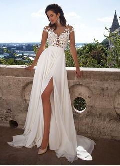Vestidos princesa / Formato A Decote redondo Sweep / Brush trem Chiffon Renda Vestido de …   – Hochzeitdeko